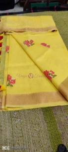 Pure linen silk embroidered sarees