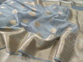 Banarasi dyeable linen with all over zari