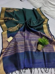 Pure dupion raw silk sarees with butti