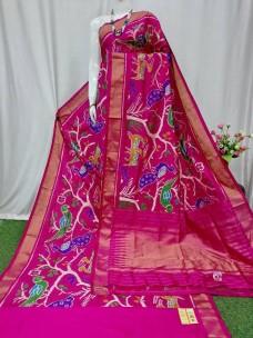 Ikkat silk forest design sarees