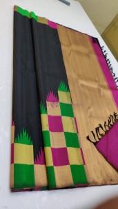 Black handloom pure kanchipuram temple border sarees