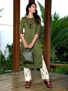 Maska lining silk embroidered kurta with pants