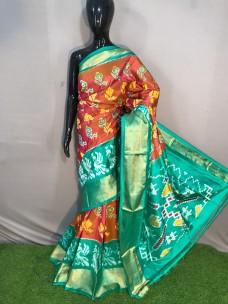 Handloom double ikkat sarees