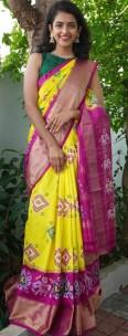 Latest Double ikkat silk sarees
