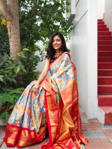 Latest pochampally double ikat silk sarees