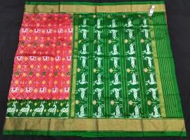 Ikkat silk sarees with double weaving