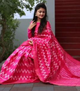 Pure handloom double ikkat sarees
