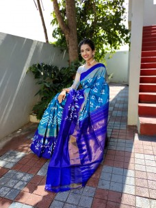 Handloom ikat silk sarees with double weaving