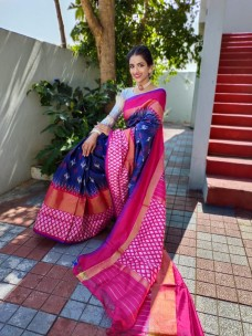 Handloom pochampally ikat silk sarees with double weaving