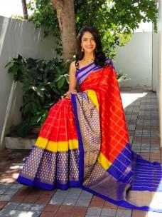 Handloom pochampally ikat silk sarees with double weaving