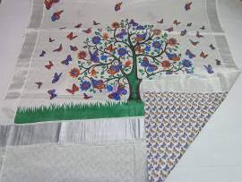 Kerala silver tissue with colorful mural print