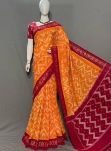 Handloom ikat cotton sarees