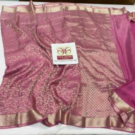 Pure crepe silk sarees with nesting silver zari weaves