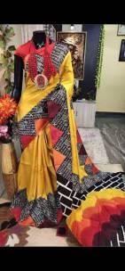 Hand print pure bishnupuri silk sarees