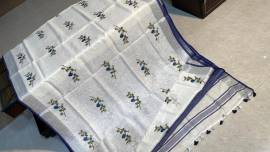 Pure 120 counts linen embroidered sarees