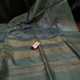 Pure tussar silk embroidered sarees