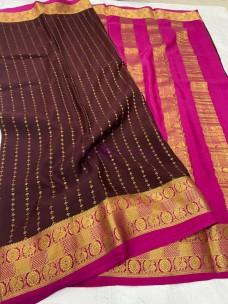120 gram ksic thickness pure mysore silk sarees