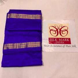 Dark blue pure silk dhoti with Angavastram