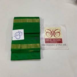 Green pure silk dhoti with Angavastram