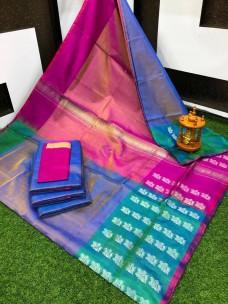 Uppada tissue silk sarees with border butti work