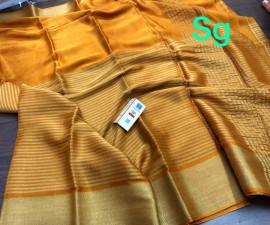 Pure mysore wrinkle crepe sarees with half zari lines