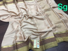 Mysore wrinkle crepe sarees with traditional border