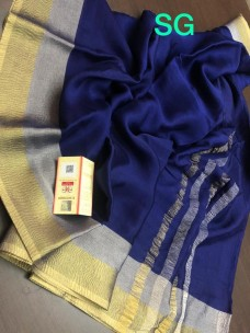 Mysore wrinkle crepe sarees with gold and silver zari border