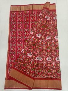 Ikkat silk sarees with nari kunja designs