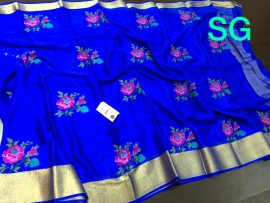 Pure mysore wrinkle crepe sarees with beautiful embroidered