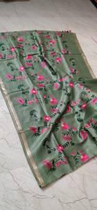 Silk kota linen embroidered sarees with zari border