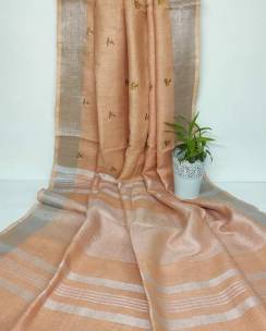 Embroidered sarees available on two fabrics