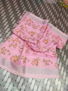Pink linen embroidered