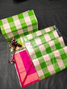Tripura half and half checks silks sarees