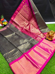 Chanderi kuppadam with gold border