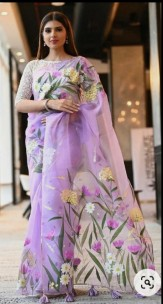 Exclusive pure organza silk hand painted sarees