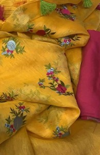100 counts silk linen sarees with embroidery
