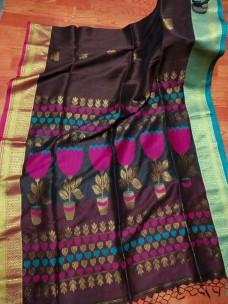 Premium quality handwoven linen banarasi sarees