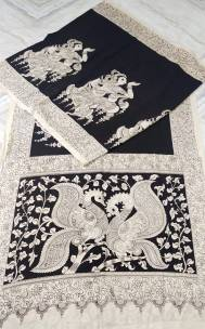 Black and white chenoori silk sarees