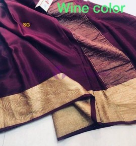 Mysore wrinkle crepe sarees with gold border