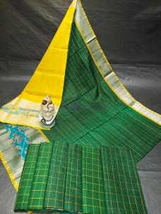 Uppada pattu checks sarees with pochampally border