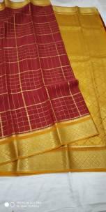 90 counts pure mysore silk sarees with checks