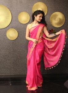 100 counts linen sarees