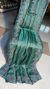 Pure tussar tissue silk cut work sarees
