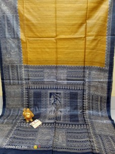 Pure tussar ghicha madhubani printed sarees