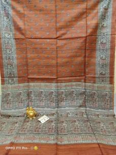 Pure tussar ghicha madhubani screen printed sarees