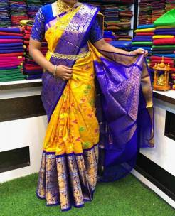 Kanchi kuppadam pletu anchu pure silk pocahmpalli design sarees