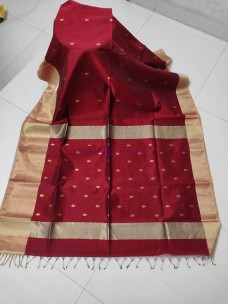 Maheshwari cotton by silk sarees with butta