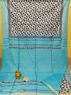 Pure tussar ghicha block print sarees