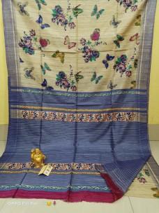 Pure tussar ghicha silk block printed sarees