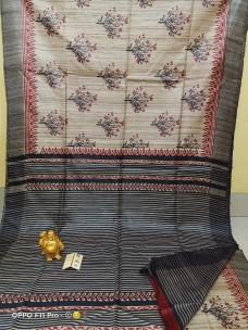 Pure handloom tussar ghicha block print sarees